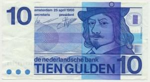 Països Baixos 10 florins 1968 FrancèsNeckMissdruk2.1-1